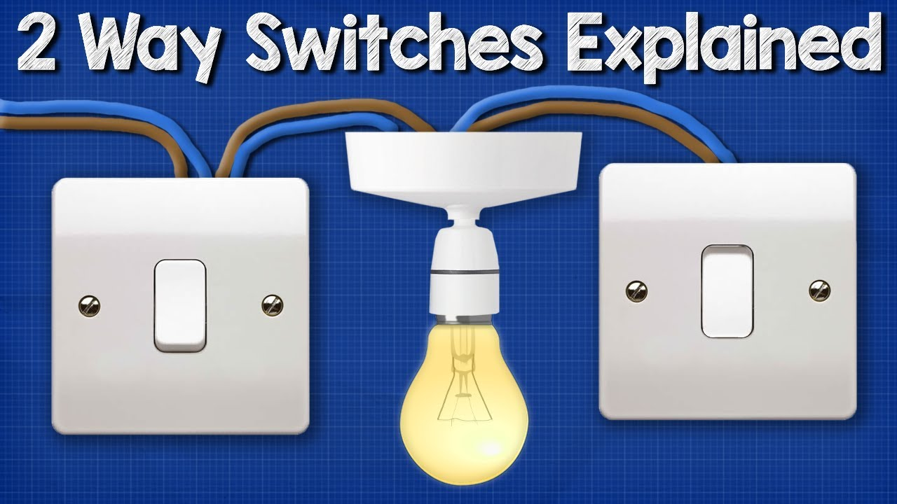 Two Way Switching Explained - How to wire 2 way light switch Two Way Switch Wiring Diagram Color on on off on rocker switches diagrams, two-way switch installation, spst switch diagrams, two-way switch with plugin, two-way toggle switch wiring, two-way switch schematic, two-way lighting circuit wiring diagram, two-way switch connection, two-way light switch,