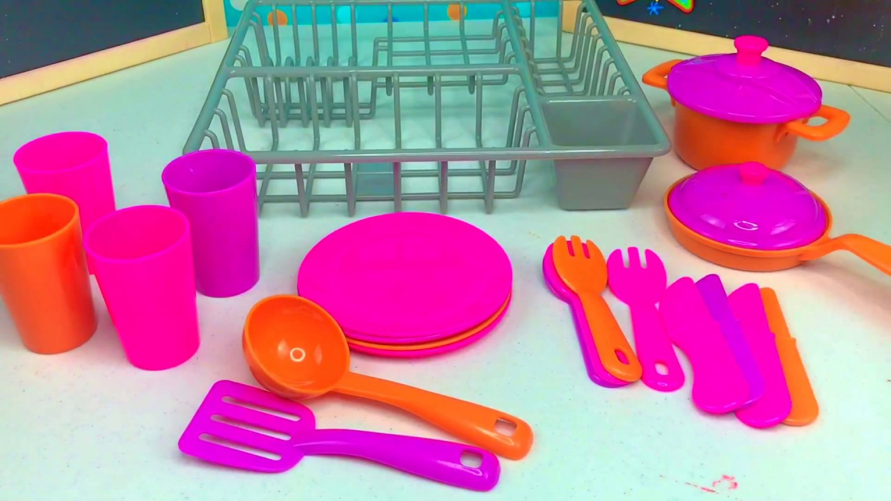 Pretend Play With Dishes And Kitchen Utensils Using Real Water And Dish Drainer Play Set Youtube