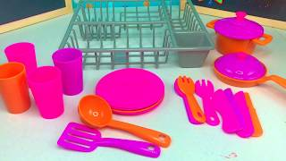 Pretend Play with Dishes and Kitchen Utensils Using Real Water and Dish Drainer Play Set