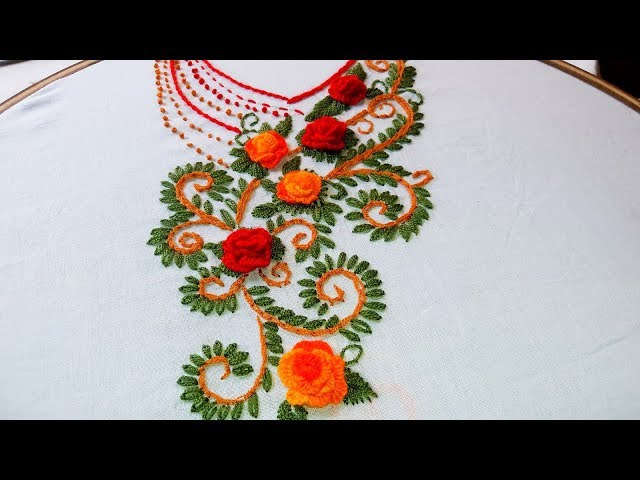 Hand Embroidery: beautiful Neckline Embroidery for Kurtis/Kameez