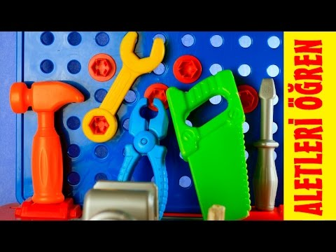 Tamir aletleri tanıyalım ve öğrenelim.oyuncak tamir seti.