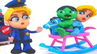 FROZEN ELSA POLICE STOPS SUPERHERO BABIES ❤ Elsa, Hulk & Spiderman Play Doh Cartoons For Kids