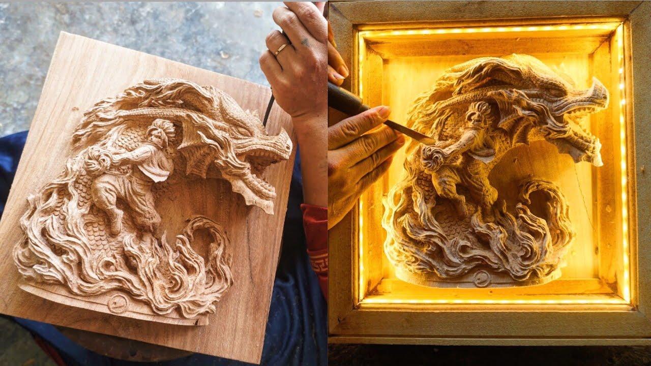 Wood Carving : Natsu & Dragon - Fairy Tail