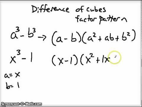Sum and difference of cubes factoring patterns4 youtube sum and difference of cubes factoring patterns4 ccuart Image collections