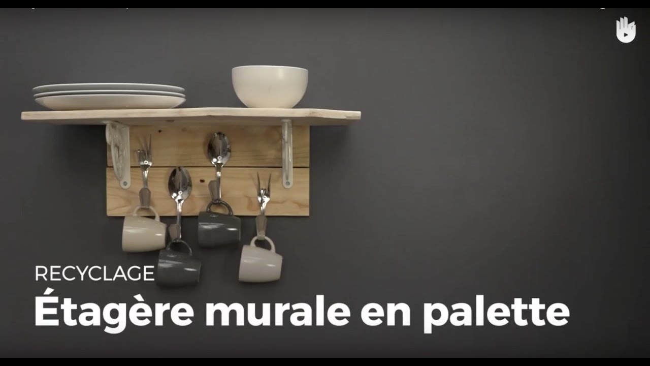 Cr er une tag re murale en palette crochets recycler youtube - Realiser une etagere ...