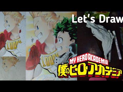 How to Drawing (cara menggambar) Mirio Togata and Midoriya Izuku from Boku no Hero Academia