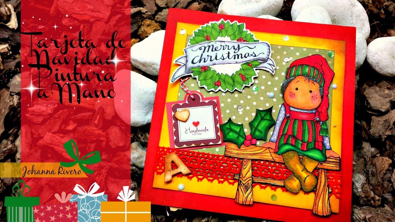 Tarjeta de navidad mu eca con brillos scrap youtube for Hacer tarjetas de navidad con fotos