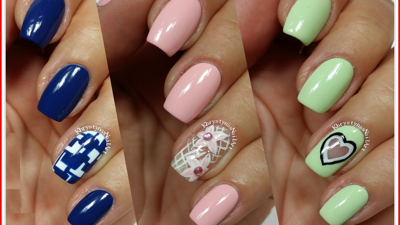 3 Easy Nail Art Designs for Short Nails | Freehand #6 - YouTube