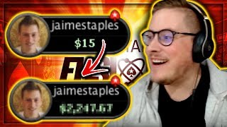 TURNING $15 INTO HOW MUCH???? - BRAND NEW FUSION CASH POKER!! PokerStaples Stream Highlights