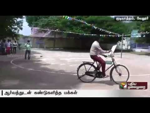 Govt school teacher sketches while cycling in Gudiyatham, Vellore