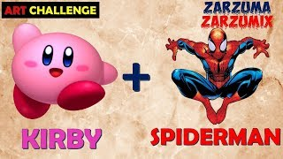 SPEED ART HOW TO DRAW KIRBY SPIDERMAN STEP BY STEP EASY AND FAST