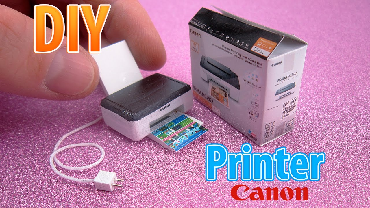DIY Realistic Miniature Printer   DollHouse   No Polymer Clay!
