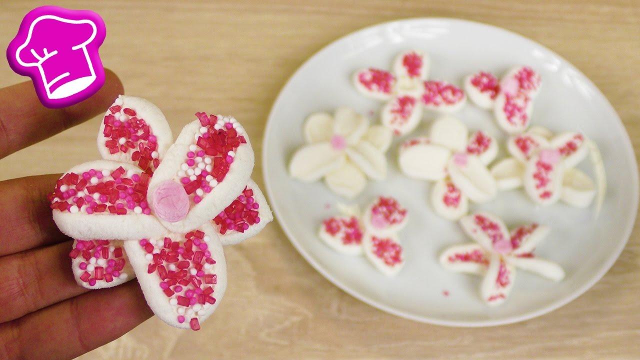 Blumen Aus Marshmallows Susse Kuchen Deko Fur Den Fruhling Oster