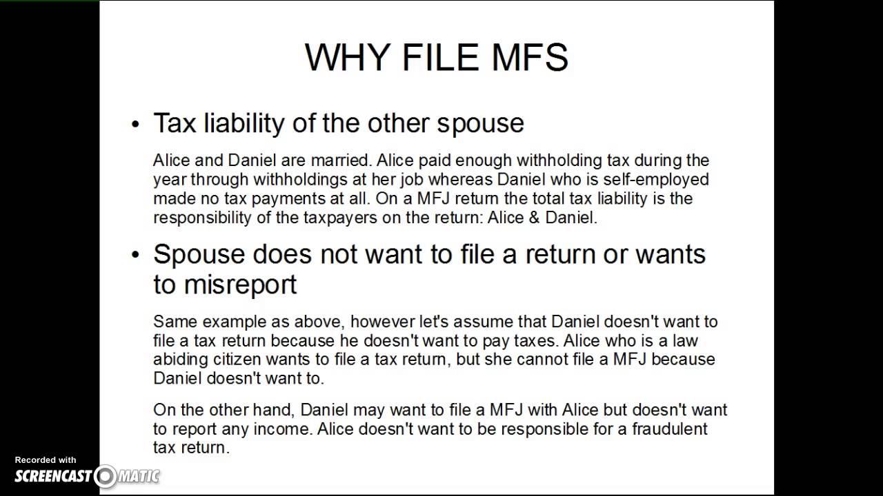 Married Filing Separate Filing Status