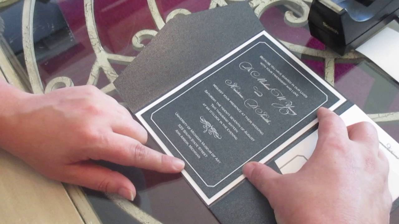 assembling a layered pocket wedding invitation with a belly band youtube. Black Bedroom Furniture Sets. Home Design Ideas