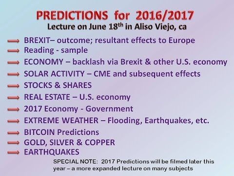 Predictions Made On JUNE 19/2016 -BITCOIN FALL!, Brexit, Solar, Gold/silver, Economy