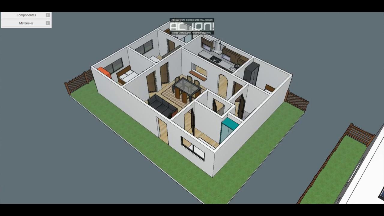 Dise o para casa peque a en sketchup youtube for Diseno de oficinas pequenas planos