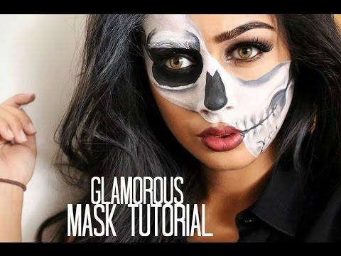Glamorous Half Skull Mask Tutorial Youtube