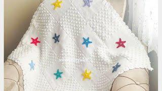 Beklenen Bebek Battaniyesi Yapımı (Yıldızlı Tunus İşi Bebek Battaniye) Baby Blanket Crochet