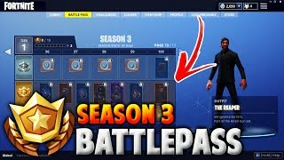 FORTNITE 'SEASON 3' BATTLE PASS - NEW SEASON 3 FORTNITE ITEMS (100 TIER ITEMS - THE REAPER - TRAILS)