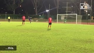 Syafiq Sazali somersault penalty - Yishun Sentek Mariners v Kaki Bukit Sports Club