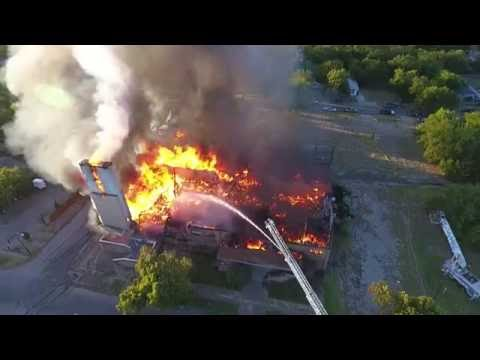 Long Version Drone Footage: 3Alarm Fire Destroys Abandoned Fort Worth Church