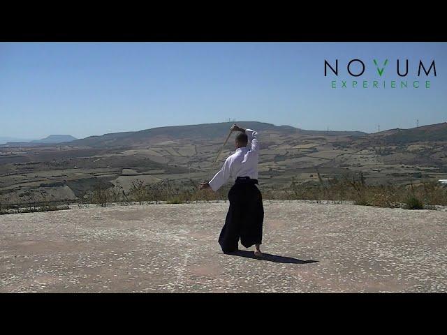 12 Katate tōma uchi - Aikido Novum Experience-Jo Suburi Nijuppo -Katate sanbon-片手遠間打ち -杖素振り20本 -片手3本