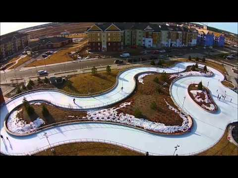 Maple Grove Central Park Outdoor Ice Skating Loop Filmed By A Drone
