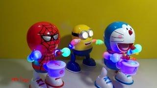 Toy drums - Người nhện và Doremon đánh trống phát nhạc biểu diễn cùng Minions Đồ chơi trẻ em MN Toys