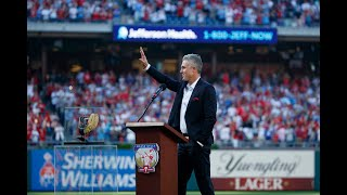 Chase Utley gives speech at Citizens Bank Park