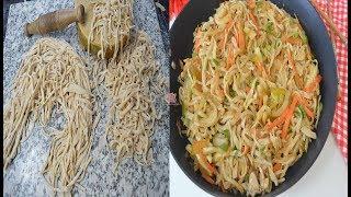 মেশিন ছাড়া স্বাস্থ্যসম্মত উপায়ে ঘরে তৈরি নুডুলস দিয়ে চাইনিজ চিকেন নুডুলস,Homemade Noodles