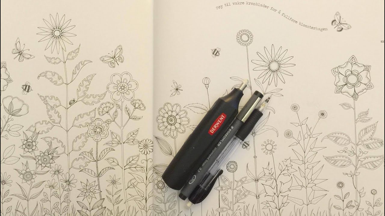 Drawing in Secret Garden Add pretty inky petals to the flower