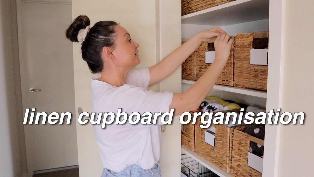 How I organised my Linen Cupboard + Showing you how I file fold my towels   Kmart Storage Baskets