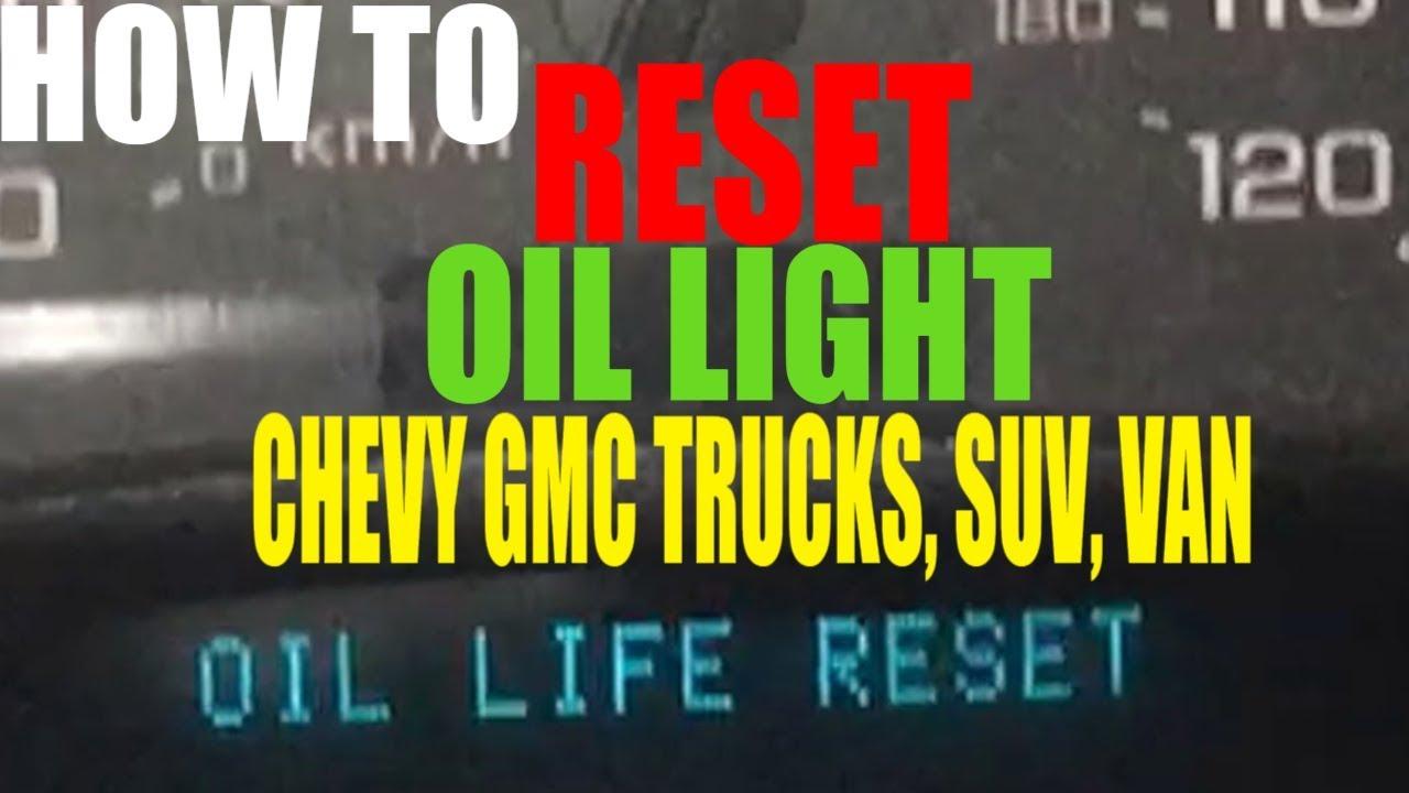 2009 chevy express van oil reset