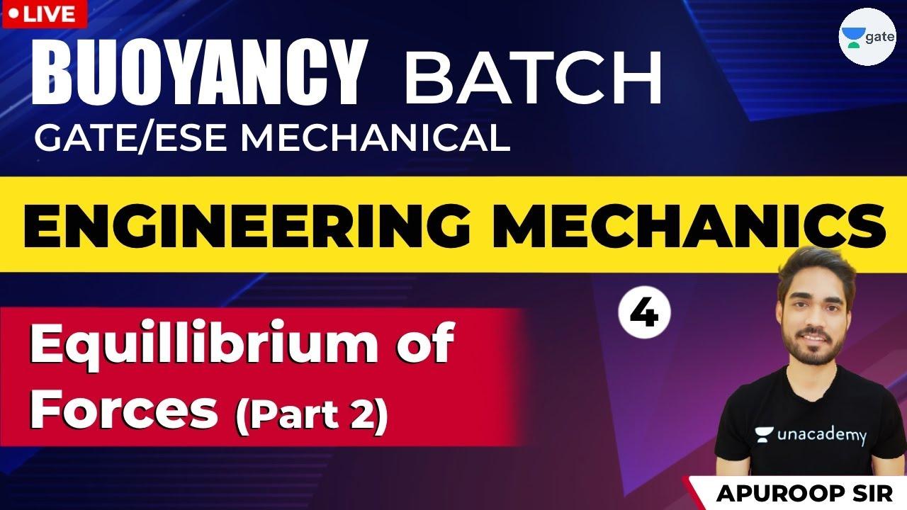 Equilibrium of Forces - Part II | Lec - 4 |Engineering Mechanics| GATE 2021 Mechanical Engineering