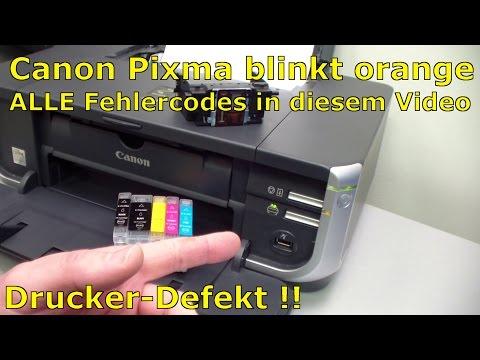 Canon Pixma flash error codes | green vs. orange