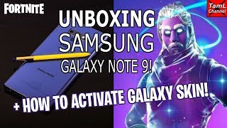 Unboxing Samsung Galaxy Note 9! Comment activer la peau de galaxie! (Fortnite)