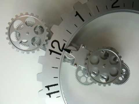 Retro Modern Contemporary Mechanical Gear Wall Clock Silver