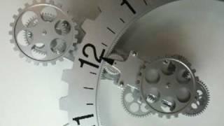 Retro Modern Contemporary Mechanical Gear Wall Clock - Silver Color