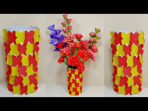 How to Make Paper Flower Vase At Home | Easy Paper Flower Vase | Jarine's Crafty Creation