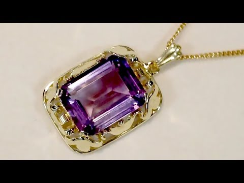 15.41 ct Amethyst and 14 ct Yellow Gold Pendant - Vintage Circa 1950 - A8519