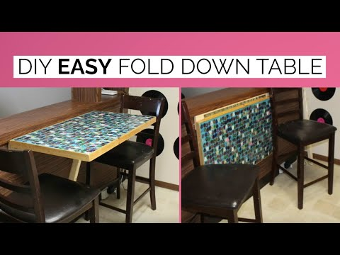 Diy Wall Mounted Fold Down Table Youtube