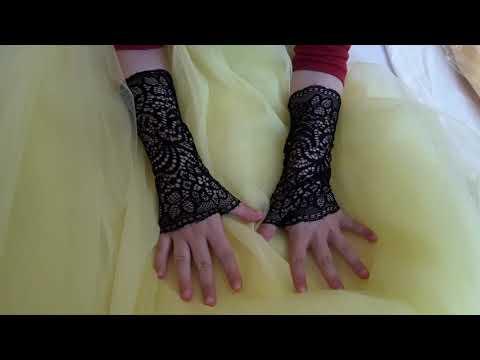 Кружевные перчатки митенки. Черные перчатки eli-stor.com