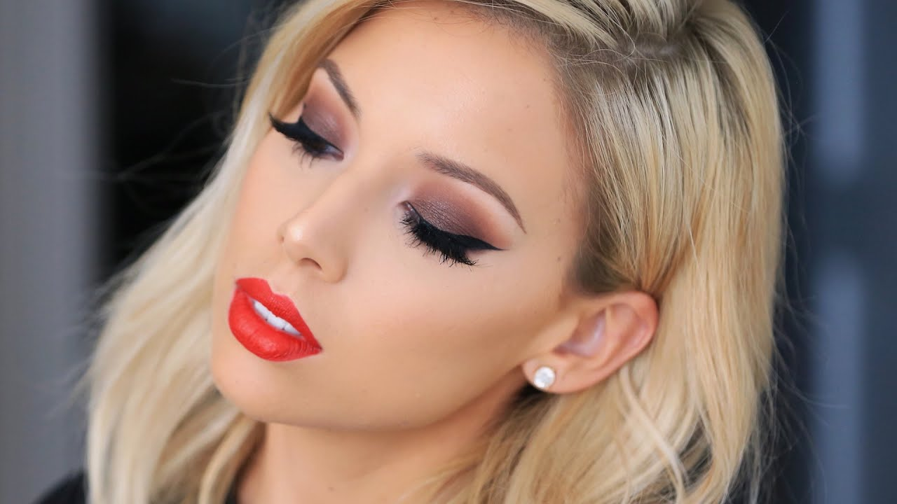 Brown Smokey Eye Red Lip Lustrelux Youtube