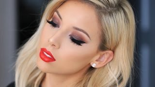 Brown Smokey Eye + Red Lip | LustreLux