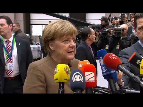 German Chancellor Merkel doorstep at European Council, 18/2/2016