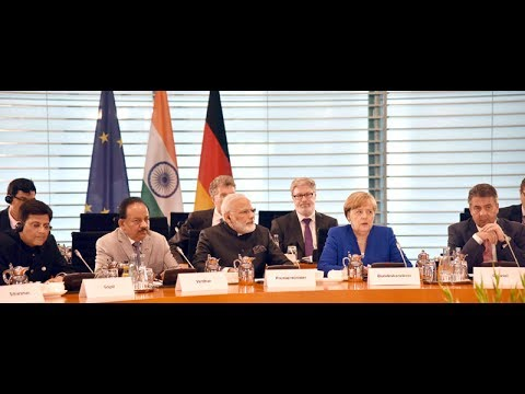 PM Modi with Chancellor of Germany Angela Merkel at Exchange of Agreements and Press Statements
