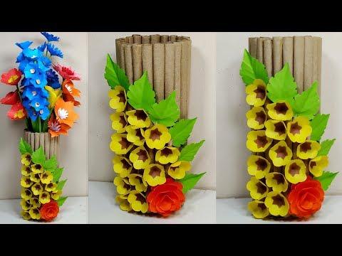 Paper Flower Vase Making   Flower Vase Out of Waste Covering Paper   Vase   Abigail Paper Crafts