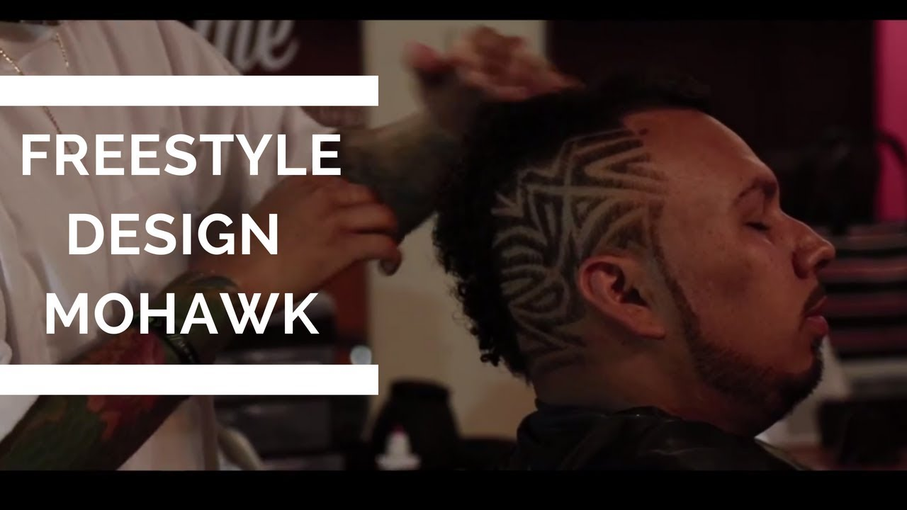 Mohawk Fade Haircut Tutorial With A Freestyle Hair Design Youtube