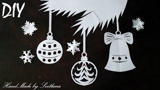 Новогодняя вытынанка своими руками Вырезание из бумаги Украшение декор на окно на Новый год